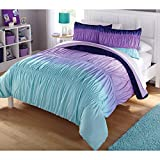 Casa Ombre Ruched Comforter Set, Queen, Blue