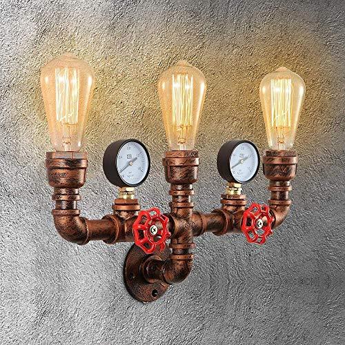 Lámpara de pared de tubería de agua industrial retro vintage soporte de lámpara de pared antiguo y portalámparas E27 para decoración del hogar bar cafe hotel bar