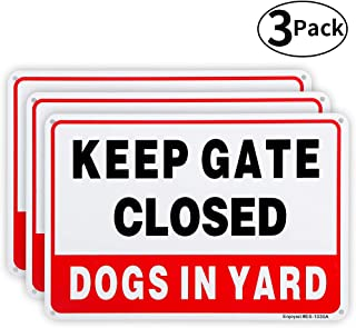 3 Pack Keep Gate Closed, Dogs in Yard Sign, 10
