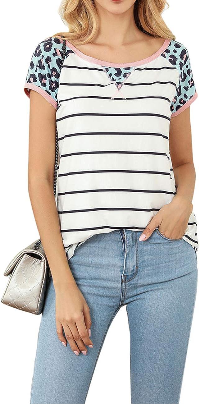 Sanifer Women's Casual Short Sleeve Camo Striped T Shirts Leopard Print Summer Tunics Tops Blouses