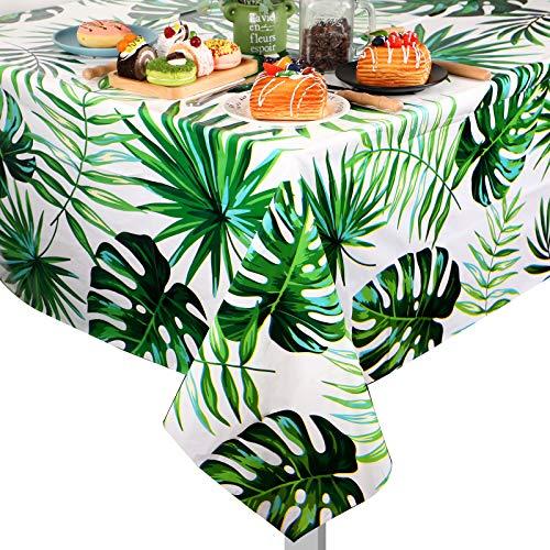 2 Manteles Hawaianos de Hojas de Palma Mantel Desechable de Plástico Cubierta de Mesa Tropical Rectangular para Cumpleaños, Decoraciones Luau, Comedor, Baby Shower, 51,2 x 86,6 Pulgadas