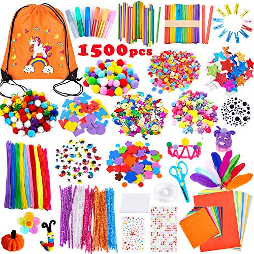 Yetech Creativo Pipe Cleaners Crafts Set,1500+ PCS Kit Manualidades niños,Pompoms con Wiggle Eyes , Craft Sticks,Pompones, Gemas Adhesivas,Juego Creativo Regalo para Craft DIY Art Supplies