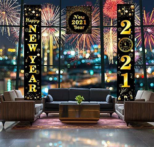 decorazioni natalizie 2021 Sayala - Set di 3 striscioni con scritta in lingua tedesca  Happy New Year