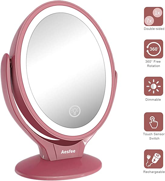 LED Lighted Makeup Vanity Mirror Rechargeable 1x 7x Magnification Double Sided 360 Degree Swivel Magnifying Mirror With Dimmable Touch Screen Portable Tabletop Illuminated Cosmetic Mirrors Rose Gold