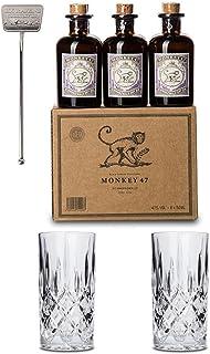 Monkey 47 Gin Set | 6X Monkey Minis | 2X Gin-Tonic Gläser | 1x Stirrer | 1x Cocktailkarte