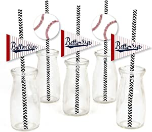 Big Dot of Happiness Batter Up - Baseball Paper Straw Decor - Baby Shower or Birthday Party Striped Decorative Straws - Set of 24