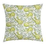 KENDIA Fenouil bulbes Motif Jardinage thème Herbes vivaces aneth Cuisson des Aliments, décoratif carré Accent taie d'oreiller, Vert pâle et Blanc, 16 Pouces