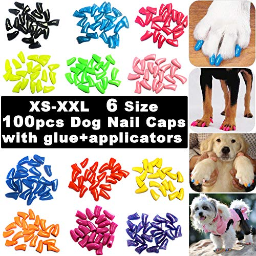 VICTHY 100pcs Dog Nail Caps, Glitter Colors Pet Dog Soft Claws Nail Cover for Dog Claws with Glue...
