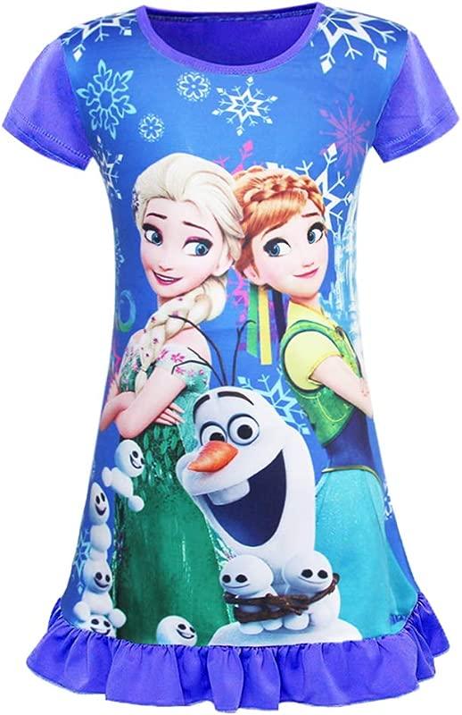 WNQY Little Girls Princess Anna Pajamas Toddler Nightgown Dress