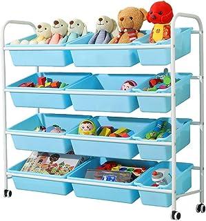 Stockage Jouet de Stockage pour Enfants Rack Cadre Blanc Bleu boîte Toy Rangement Organisateur Panier avec Roues et Bins A...