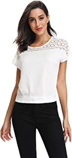 CROSS1946 Short Sleeve Lace Hollow Out Blouse for Women Summer Casual Tops Chiffon Round Neck T Shirt