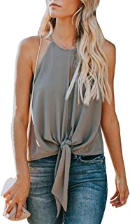 Topstype Women's Summer Sleeveless Crew Neck Tank Tops Camis Front Tie Knot Casual Shirt Keyhole Front Blouse