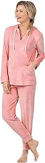 PajamaGram Hoodie Pajama Set Women - Zip Up Winter PJs Women, Blush