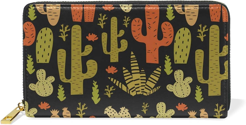Women's Cactus Palm Leather Wallet Cute Girl Zipper Clutch Purse
