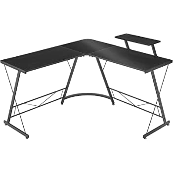 """Mr IRONSTONE L-Shaped Desk 50.8"""" Computer Corner Desk, Home Gaming Desk, Office Writing Workstation with Large Monitor Stand, Space-Saving, Easy to Assemble, Black"""