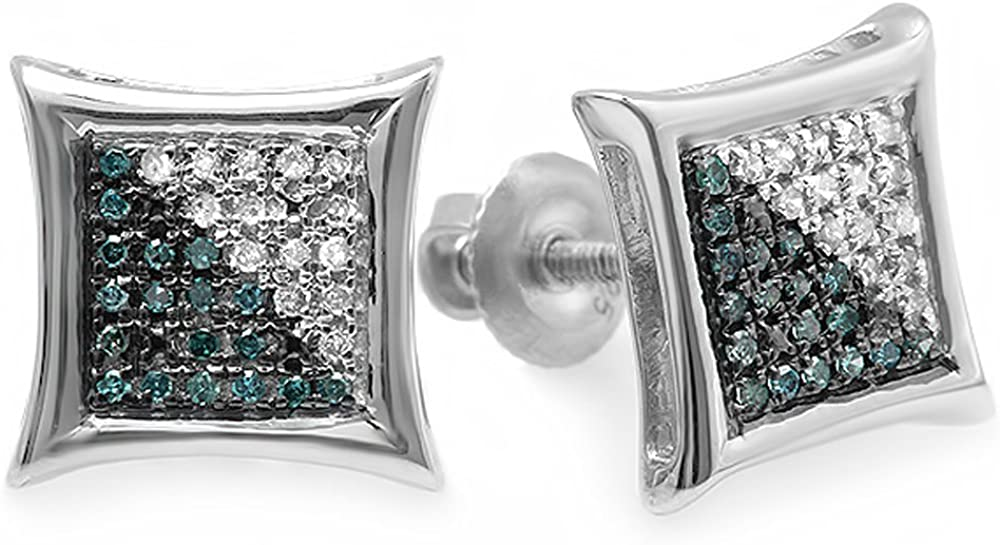 Dazzlingrock Collection 0.15 Carat (ctw) Blue & White Round Diamond Micro Pave Setting Kite Shape Stud Earrings