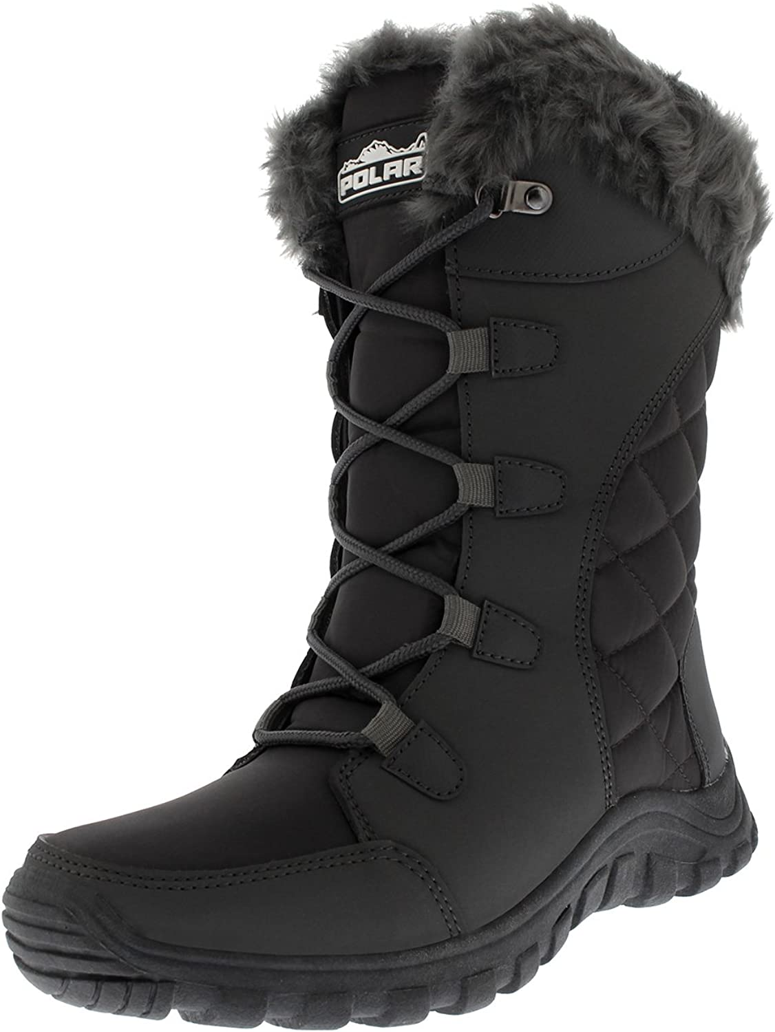 Polar Products Womens Quilted Lace Up Grey Outdoor Snow Rain Duck Boot