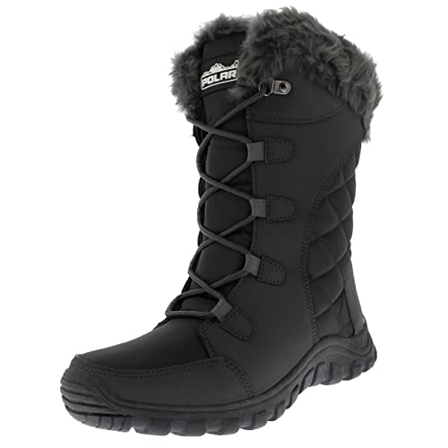 Womens Quilted Lace Up Waterproof Black Outdoor Cuff Snow Rain Duck Boot b3fff94306