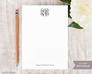 VINE MONOGRAM NOTEPAD - Personalized Preppy Traditional Women's Girl's Stationery/Southern Monogroammed Note Pad