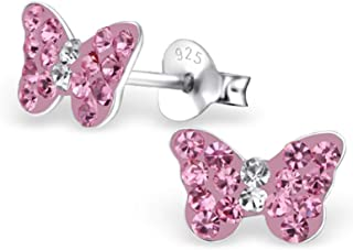 925 Sterling Silver Pink Butterfly Earrings for Women |...