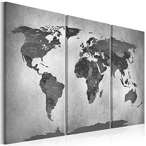 murando Akustikbild Weltkarte grau 135x90 cm Pinnwand Korktafel Korkwand Schallschutz Leinwand Akustikdämmung 3 TLG Wandbild Raumakustik Schalldämmung k-C-0088-b-e