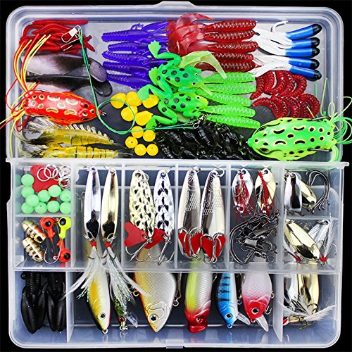 Isafish Fishing Tackle Set, Fishing Lures Kit Set for Bass, Trout, Salmon, Including Spoon Lures, Soft Plastic Worms, CrankBait, Jigs, Topwater Lures (with Free Tackle Box) - 140PCS