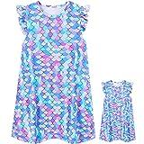 ModaIOO Ropa de dormir para niñas y muñecas a juego camisón pijama camisón camisón vestido de dormir con ropa de muñecas de 18 pulgadas - blanco - 9-10 años