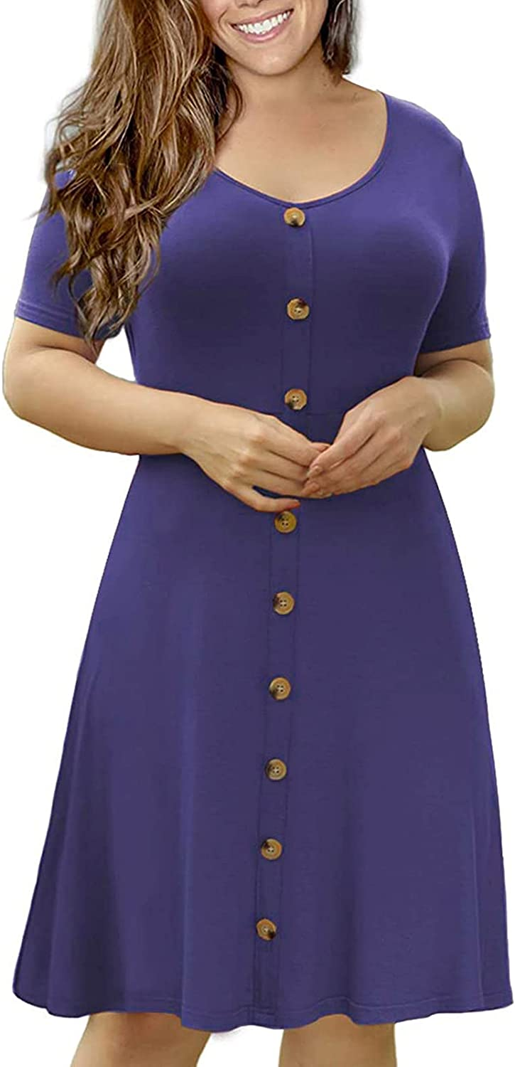 ESULOMP Women's Plus Size T Shirt Dress Summer Short Sleeve O-Neck Casual Solid Color Tunic Dresses