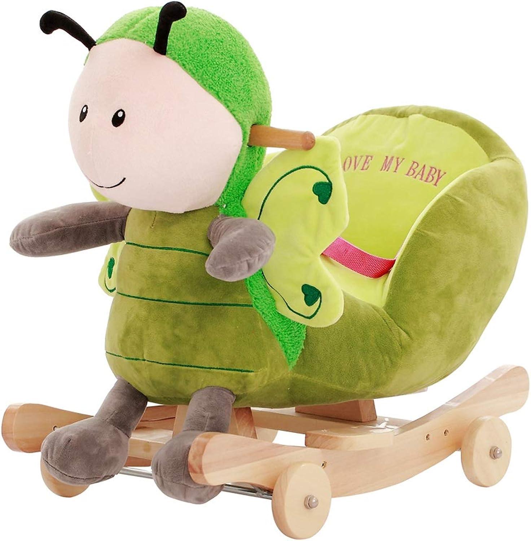 Schaukelpferd LINGZHIGAN Kinderspielzeug Massivholz Baby Schaukelstuhl Auto Baby Trojaner Mit Musik Styling Cartoon, Senden Cool Pad