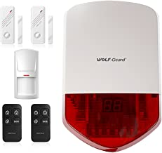 Wolf Guard LB-01A 110dB Standalone Siren Basic Security Burglar Alarm System for Cabin/Carport/Build Site/Shed/Porch Home Alarm System,Come with Key Fob Remotes and Motion Detector