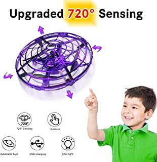 Hand Operated Drone for Kids Gift, WEW 6 Magical Senors Hands Free Toys Mini Drone Helicopter, Flying Ball Drone Toys Gift for Boys Girls Teenagers - Purple
