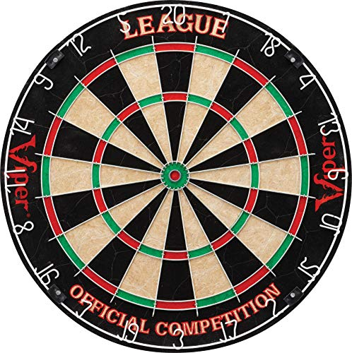 Viper League Regulation Bristle Steel Tip Dartboard Set with StapleFree Bullseye Galvanized Metal Thin Radial Spider Wire HighGrade Compressed Sisal Board with Rotating Number Ring Extending Life