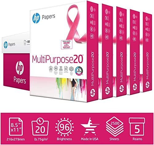HP Printer Paper 8.5x11 MultiPurpose 20 lb 5 Ream Case 2500 Sheets 96 Bright Made in USA FSC Certified Copy Paper HP ...