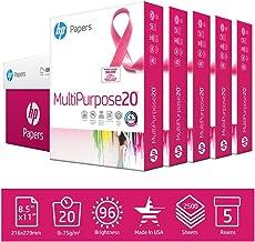 HP Printer Paper 8.5x11 MultiPurpose 20 lb 5 Ream Case 2500 Sheets 96 Bright Made in USA FSC Certified Copy Paper HP Compa...