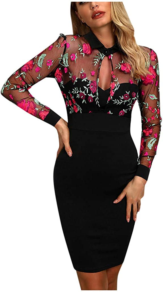 Floral Embroidered Pencil Dress,Womens Fashion Lace Splicing Cocktail Party Bodycon Sheath Dress