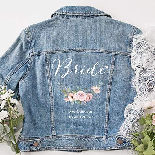 """personalisierte Jeansjacke """"Bride"""" mit Blumenkranz"""