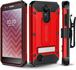 LG Aristo 2/ Aristo 2 Plus/Tribute Dynasty/Fortune 2/ Rebel 3 Case, Evocel [Explorer Series Pro] Premium Case w/Tempered Glass, Belt Clip, Kickstand for K8+/ Phoenix 3/ LG Zone 4, Red