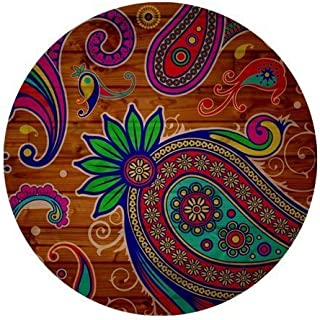 Paisley Colorful Flower Personalized Round Mouse Pad
