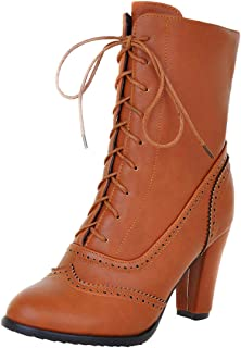 Fashion Womens Boot,Women Autumn Snow Winter Martin Casual Comfortable Vintage Breathable Waterproof Ankle Classic Leather Middle Tube Bootie (Color : Yellow, Size : 3 UK)