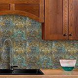 ENCOFT Vintage 4 Piezas Pegatinas de Baldosas Rectangular Adhesivo para Azulejos Pegatinas de Azulejos Autoadhesivo Azulejo en PET Impermeable para Cocina Baño 60x40cm
