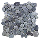 Divero 11 Fliesenmatten aus Naturstein Flusskiesel Flussstein Mosaikfliesen grau á 32 x 32 cm