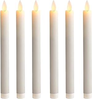 5PLOTS شمع مخروطی بدون شعله موم 9 اینچ با فتیله و تایمرهای متحرک ، شمعدان های LED با لرزش باتری برای روز ولنتاین ، وسایل میز شام ، تزیین مهمانی ، ست 6 تایی