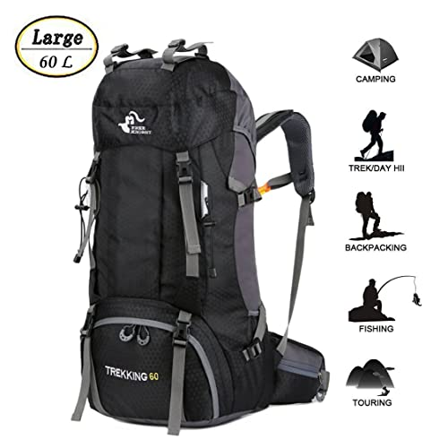 60L Waterproof Ultra Lightweight Hiking Backpack with Rain Cover 8c1d934c6e3c7