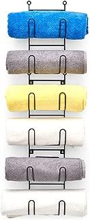 EZOWare Wall Mounted Towel and Wine Bottle Detachable Shelf Rack, 6 Level Multipurpose Organizer Shelves