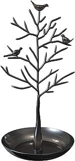 حامل مجوهرات بتصميم حديث ولطيف لشجرة مع طير لتعليق العقود والاقراط للنساء والبنات والمراهقات من ويل سترونج، لون اسود