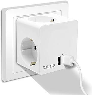 USB Steckdose,Dabeto 5 in 1 Mehrfachsteckdose mit 3 Fach Steckdosen Adapter 2 USB Anschluss,Würfel Steckdosen mit USB Ladegerät,Flammhemmendes Material,Kein Kabel,Leicht zu Tragen Weiß