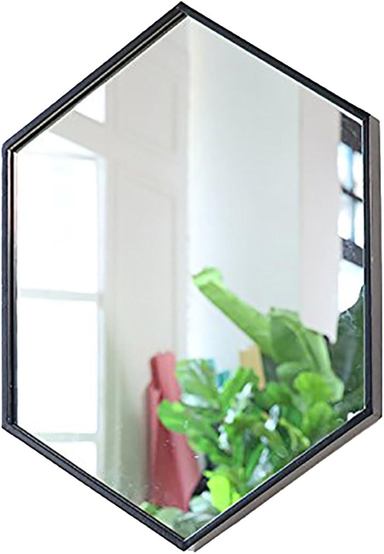 GUOWEI Mirror Hexagon Wall Mounted Iron Frame Bathroom Makeup 3 Sizes (color   Black, Size   60x80cm)