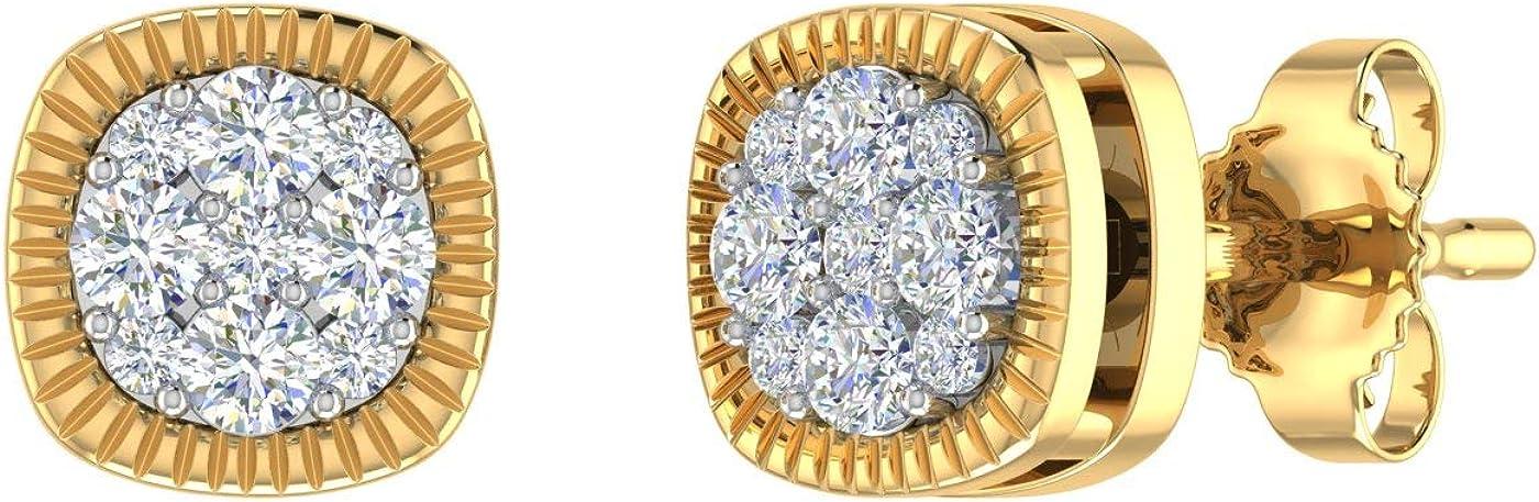1/4 Carat Diamond Square Cluster Stud Earrings in 10K Gold