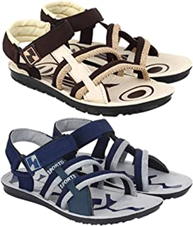 Super Men's Casual Combo Pack of 2 Canvas Multi-Color Sandal & Floater