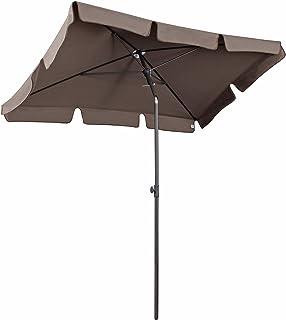 Sekey 200 × 125 cm parasollmarknad parasoll trädgård parasoll uteplats paraply solskydd UV 50+ cappuccino fyrkant